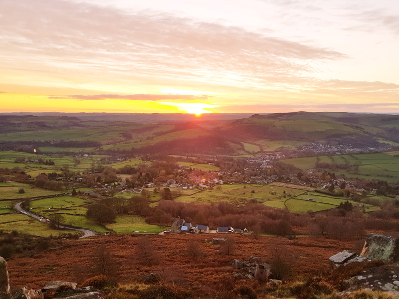 View over The Peak District with sun setting